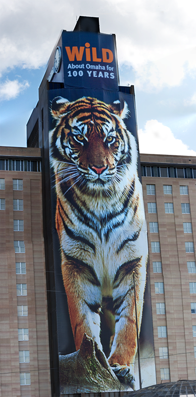 Large Banner on the Mutual of Omaha Building in Omaha, NE