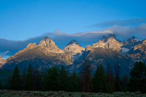 Tetons covered in clouds